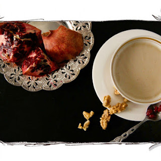 Creamy Chestnut Soup with Pomegranate and Walnut Topping Recipe