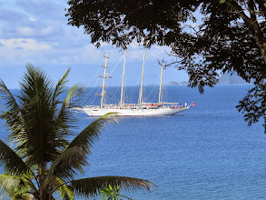 Photo: Two modern 4 masted schooners spent some time near our lodge and let passengers have a short visit to Corcovado Rainforest Reserve.