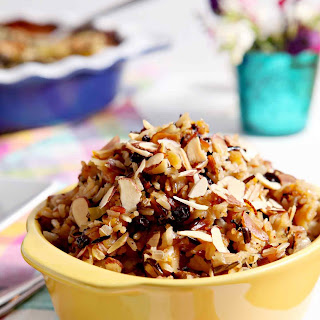 Wild Rice Salad with Dried Fruit and Almonds.