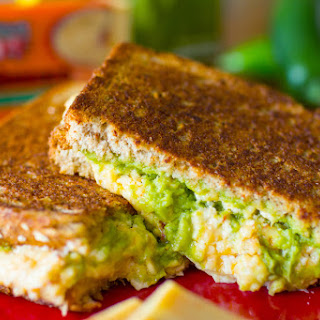 Hot Habanero Cheddar Grilled Cheese with Guacamole & Roasted Peppers