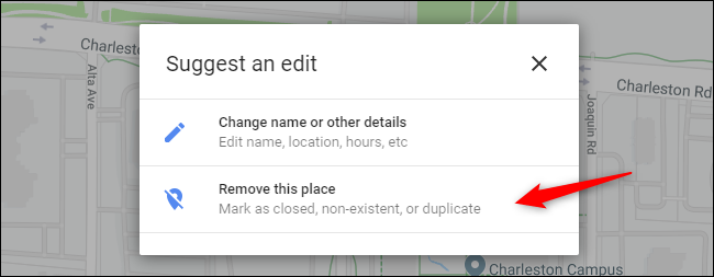 Remove this place option in Google Maps business listing