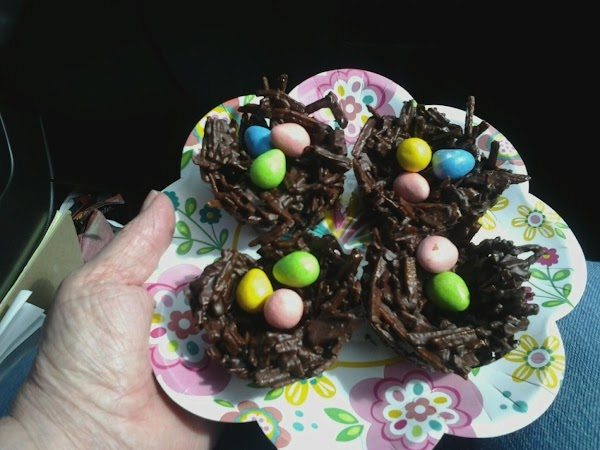 "Put on plate and add M&M's, or Reese's candies as ""eggs""."