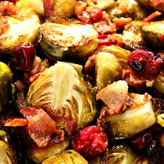 Bacon Roasted Brussels Sprouts with Cranberries.