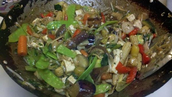 add remaining sauce ingredients, heat thru, thicken with remaining corn starch slurry,
