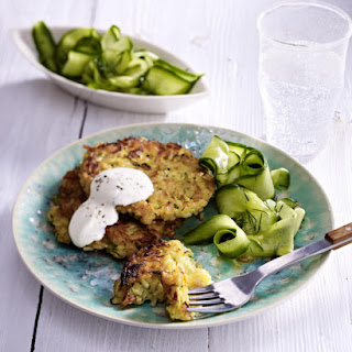 Zucchini and Rice Fritters with Cucumber Salad