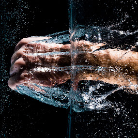 Water Punch by Tj Barney - Abstract Water Drops & Splashes ( cool, lights, hand, water, element, punch, splash, fist, fun, photography, black )