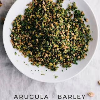 Pistachio Gremolata with Arugula + Barley.