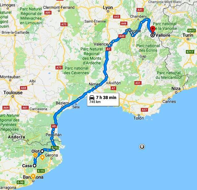 Mapa itinerari Centelles-Valloire