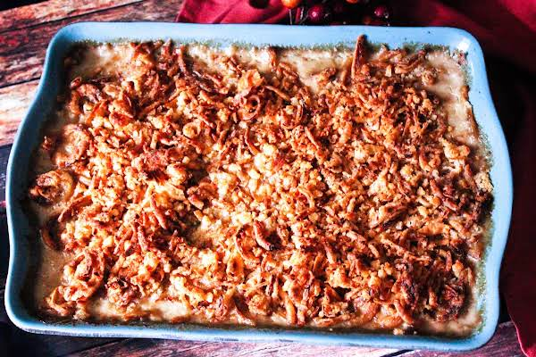 Uncle Greg's Green Bean Casserole Cooked Until Golden Brown.