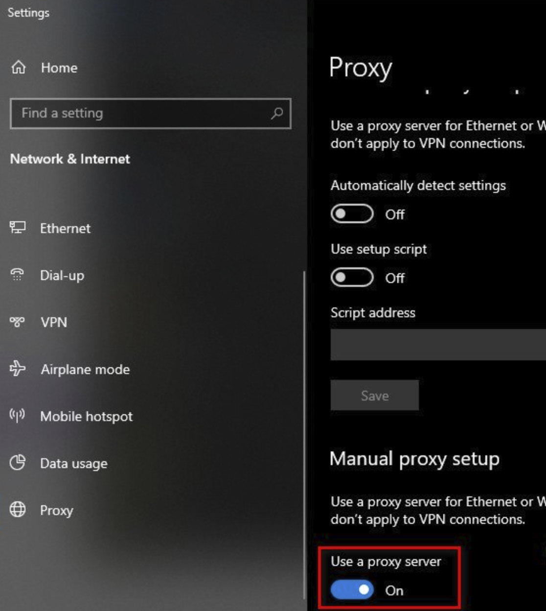 Toggle OFF the Use a proxy server setting.