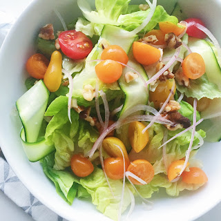 Butter Lettuce Salad with Zucchini, Walnuts and Tomatoes