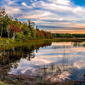 Evening Glory by Rita Taylor - Landscapes Waterscapes ( clouds, water, autumn, sunset, lake,  )