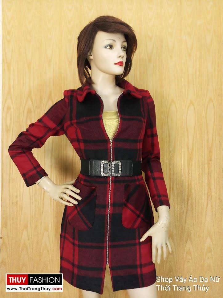 Áo váy dạ nữ dáng dài kẻ caro V649 Thời Trang Thủy
