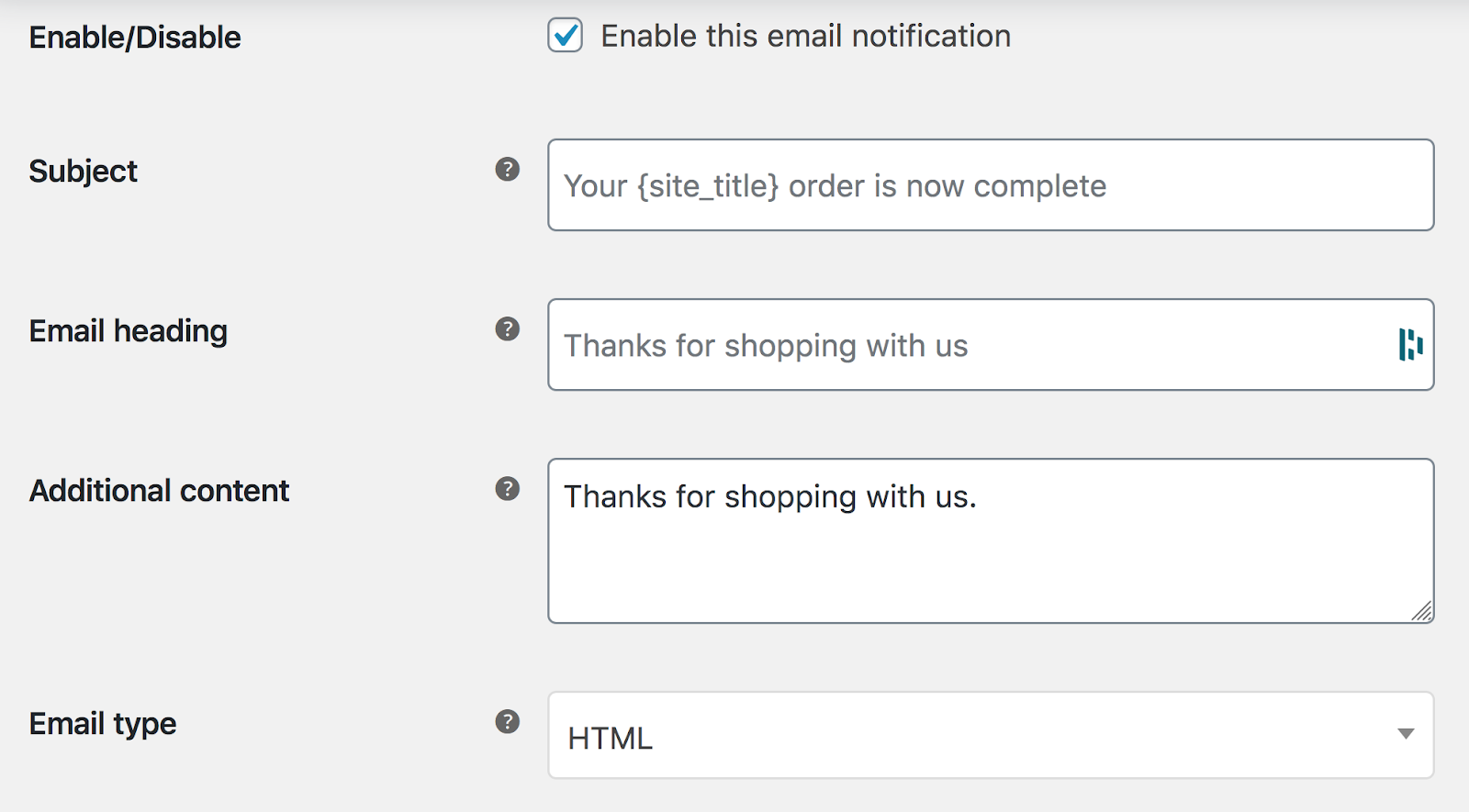 Screenshot of the 'Manage' area within WooCommerce's email notification settings
