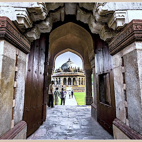 The Gate way of Isha Khan's Tomb by Debasis Banerjee - Buildings & Architecture Public & Historical ( tomb, isha khan's tomb, mughal structure, architecture, gate, delhi )