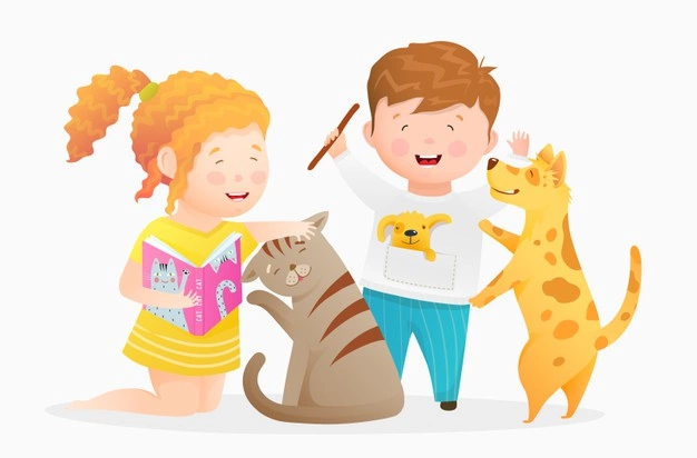 kids playing with pets