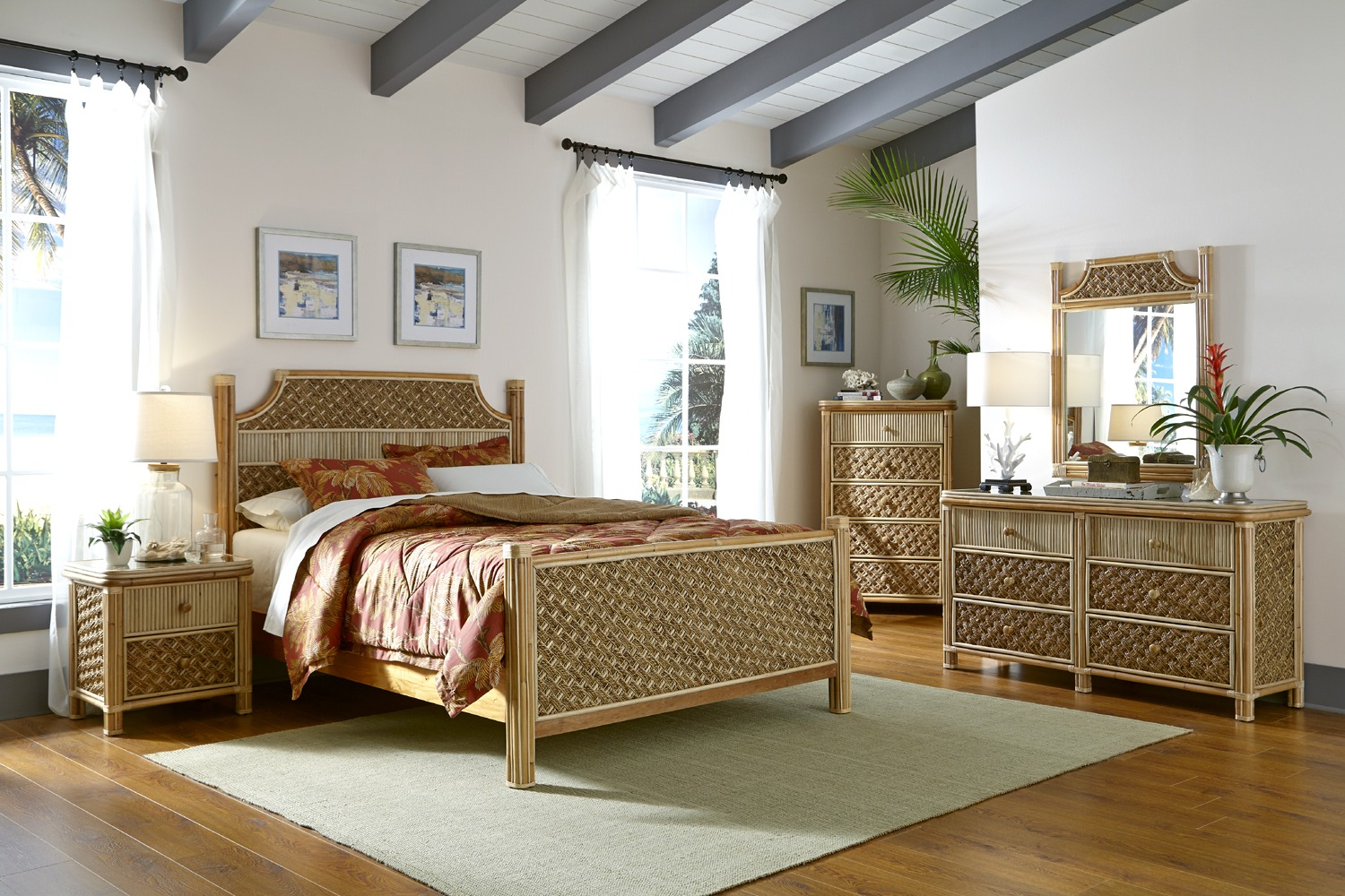 White Bedroom Ideas with Wicker Nightstand