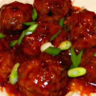 Slow Cooked Asian Meatballs With An Orange Chili Sauce.