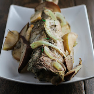 Slow Cooker Pork Tenderloin with Apples and Pears.