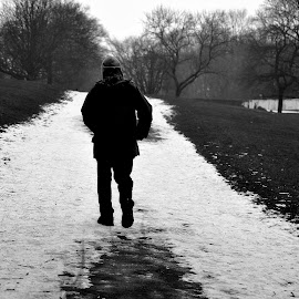 Slow  in  the  snow by Gordon Simpson - People Portraits of Men