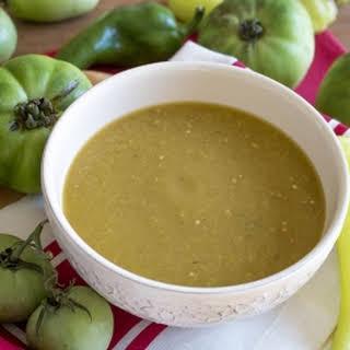 Fresh Green Tomato-Chili Pepper Sauce.