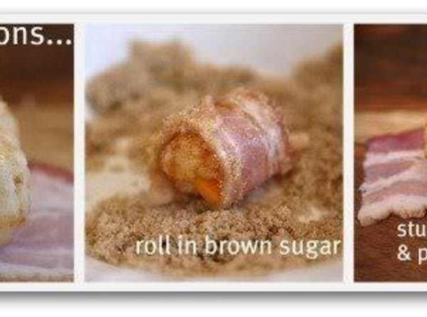 Roll the bacon-wrapped tater tot in brown sugar before baking to add a little...
