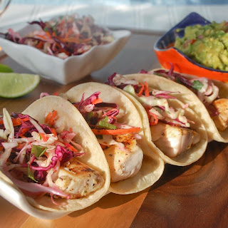 Fish Tacos with Spicy Jalapeno Slaw.