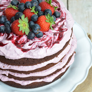 Chocolate Cake with Cream Cheese and Berries.