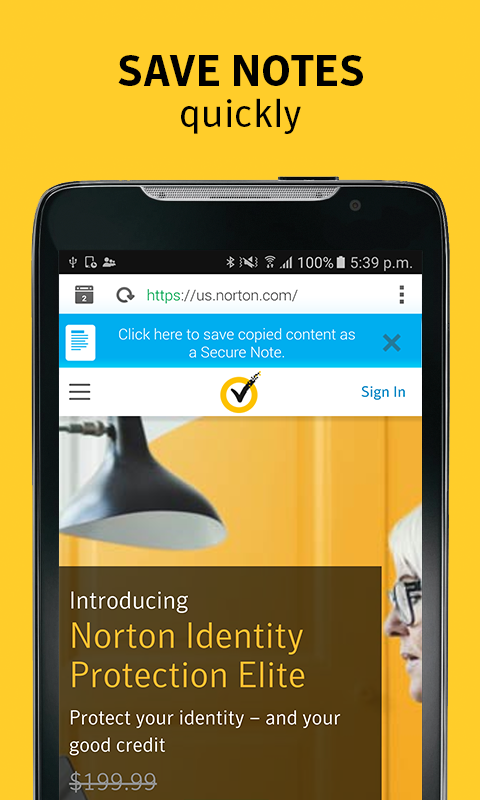 Norton Identity Safe Password: captura de tela