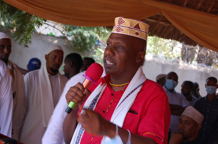 Baringo Senator Gideon Moi speaking at a Garissa hotel during a fundsdrive in aid of madara institutions in fafi sub county.