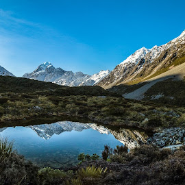 Mt Cook Reflections  by Gareth West - Landscapes Mountains & Hills ( sky, mountain, reflection, snow, water, new zealand,  )