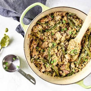 One-pot Pesto Chicken and Rice.