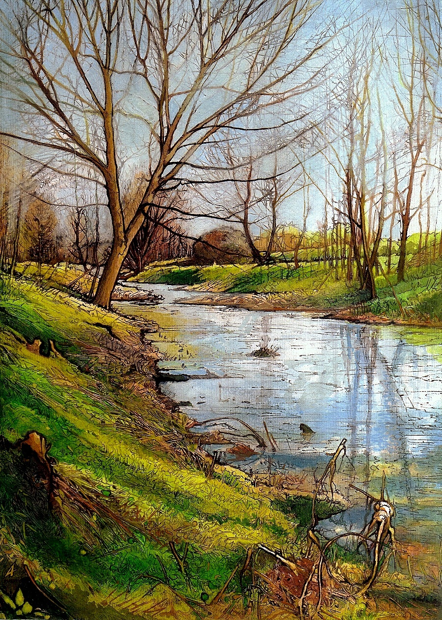 THE LATOR CREEK IN THE LOWLANDS II - Illustration (landscape), MMXIV - Ink on watercolour on carton - 9,06 X 6,3 in.jpg