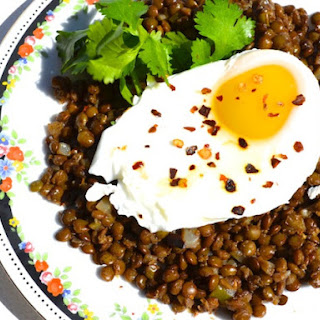 Poached Eggs with Spiced Lentils.