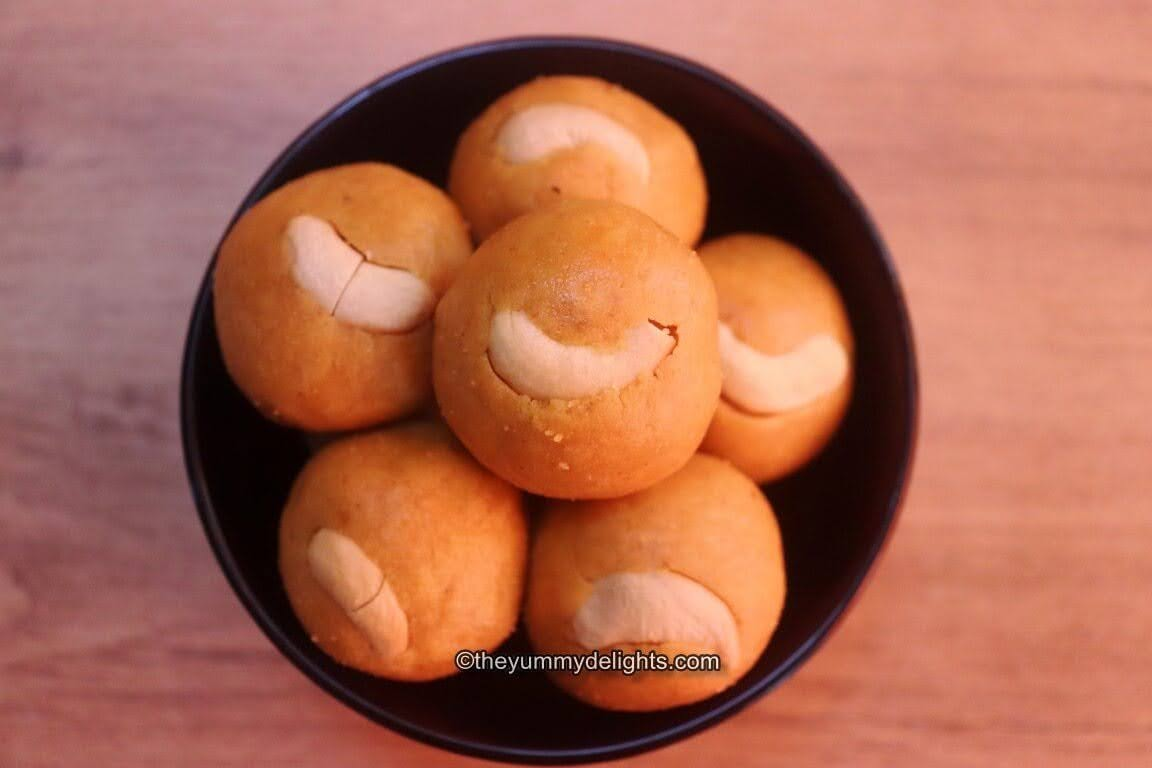 top view of moong dal ladoos made with jaggery.