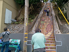 Photo: Members of a local independent film crew were on the Hidden Garden Steps (16th Avenue, between Kirkham and Lawton streets in San Francisco's Inner Sunset District) on July 18, 2014 as part of their efforts to make a short documentary on unusual places in San Francisco.   For more information about the gardens and the 148-step ceramic-tile mosaic completed by project artists Aileen Barr and Colette Crutcher, please visit our website (http://hiddengardensteps.org), view links about the project from our Scoopit! site (http://www.scoop.it/t/hidden-garden-steps), or follow our social media presence on Twitter (https://twitter.com/GardenSteps), Facebook (https://www.facebook.com/pages/Hidden-Garden-Steps/288064457924739) and many others.