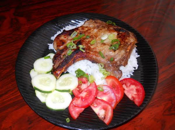 Asian Marinated Pork Chops Over A Bed Of Jasmine Rice Recipe