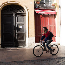 Bike on door by Clément Viguier - City,  Street & Park  Street Scenes ( red, urban, city, street photography, bike )
