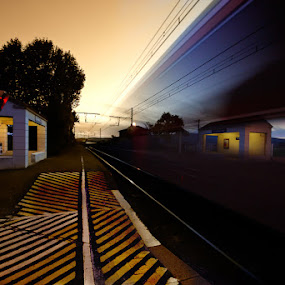 Un train passe by Olivier Tabary - Transportation Trains ( train, vitesse, gare )