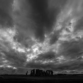 Stonehenge just before the rain by Larry Crawford - Landscapes Cloud Formations ( cloud formations, uk, faces, stonehenge, black and white,  )