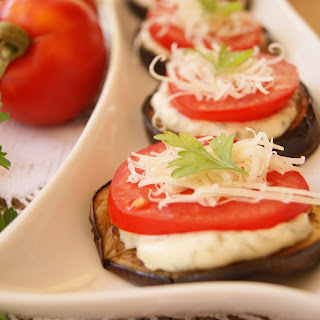 Garlic Roasted Eggplant and Tomato Appetizer.
