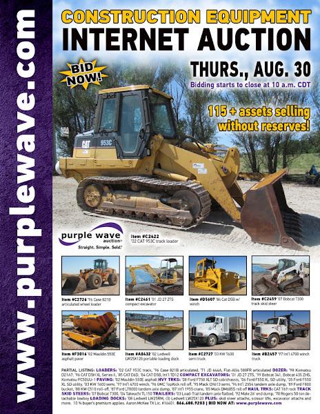 Photo: Construction Equipment Auction August 30, 2012 http://purplewave.co/120830