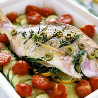 Whole Bream with Zucchini and Cherry Tomato