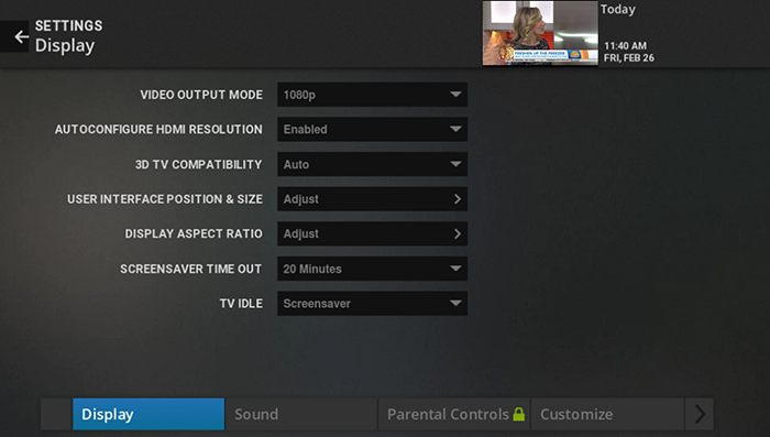 Adjust display settings on legacy Fiber TV
