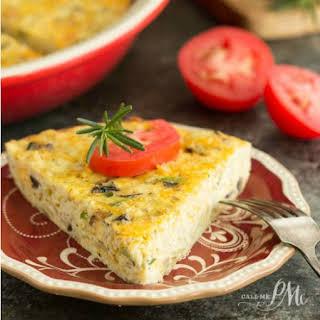 Sauteed Cauliflower Mushroom Leek Crustless Quiche.
